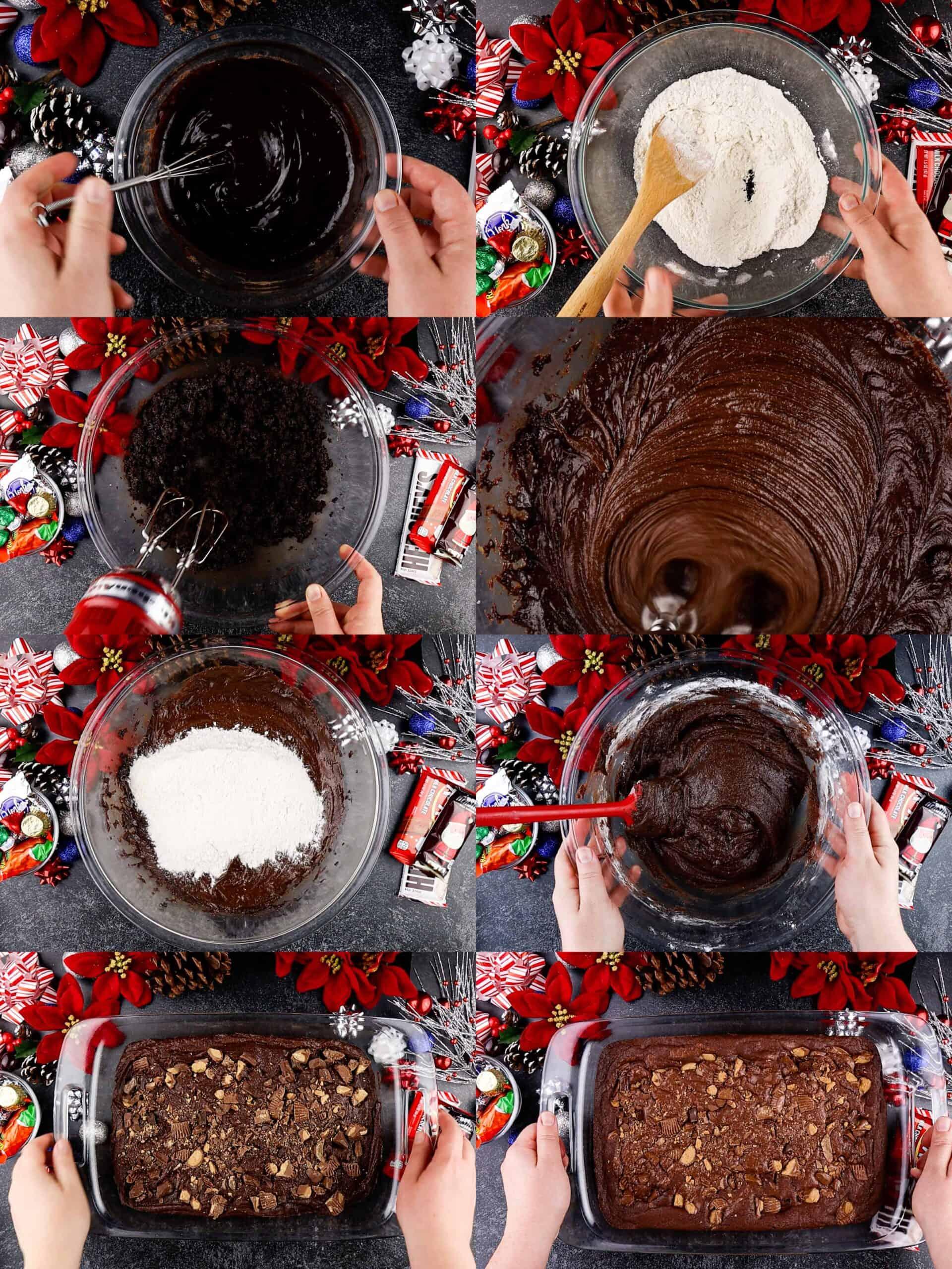 making the brownies process shots