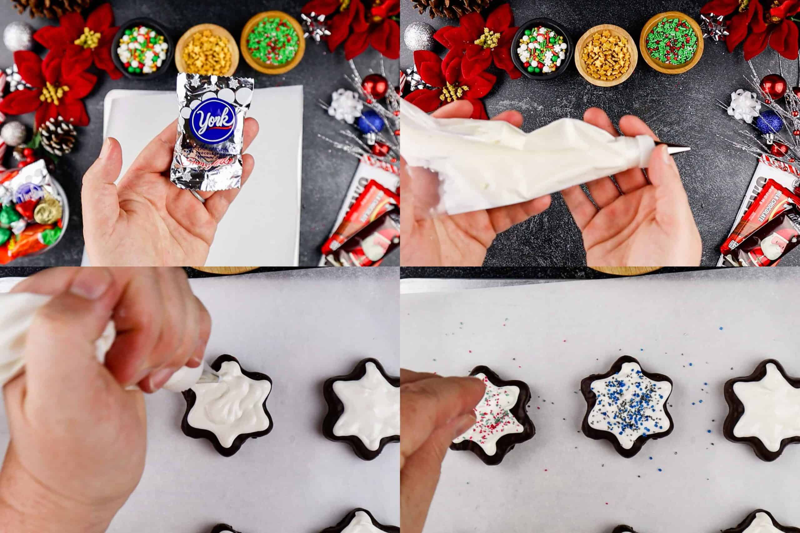 decorating the snowflakes process shots