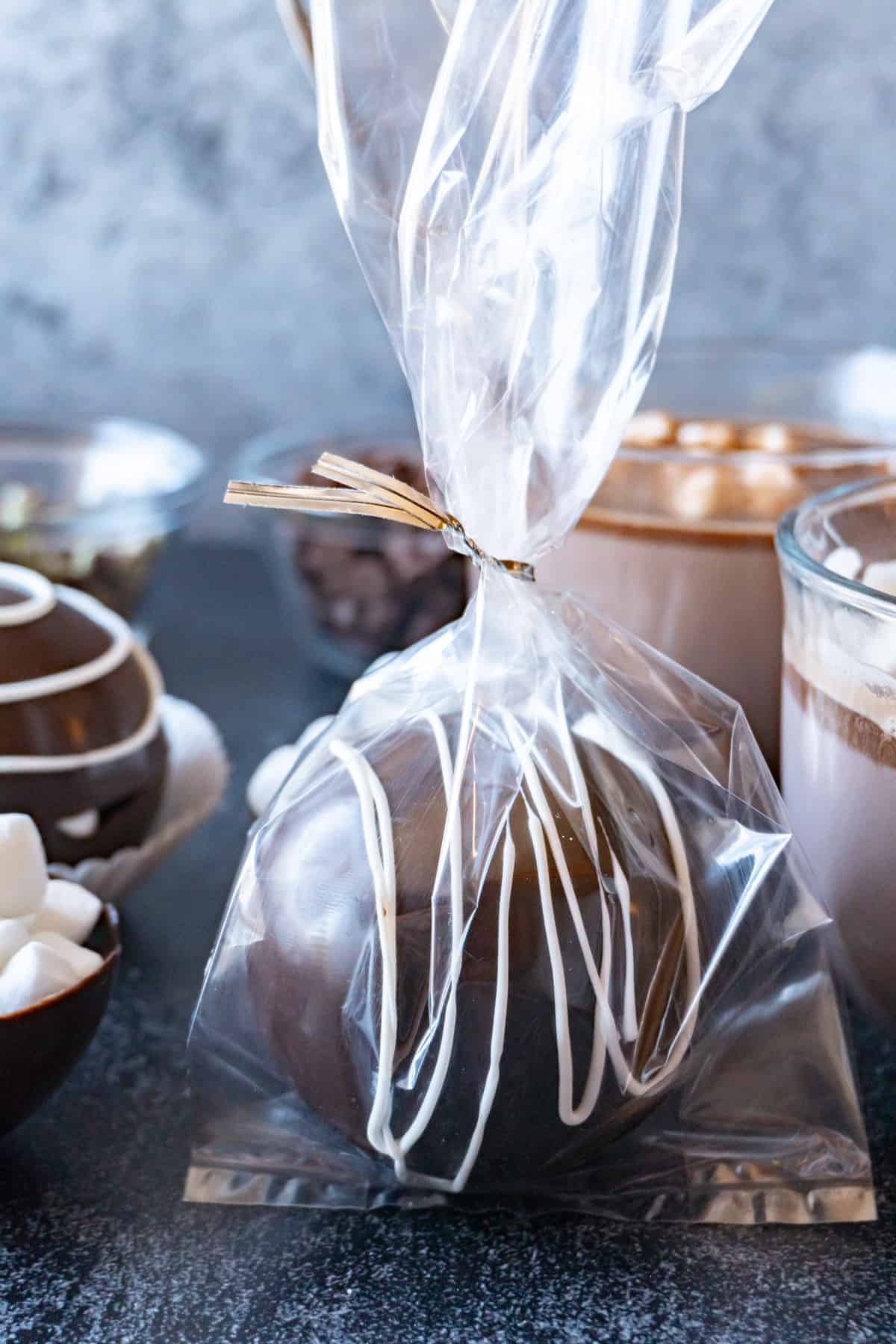 Hot chocolate bomb in a gift bag