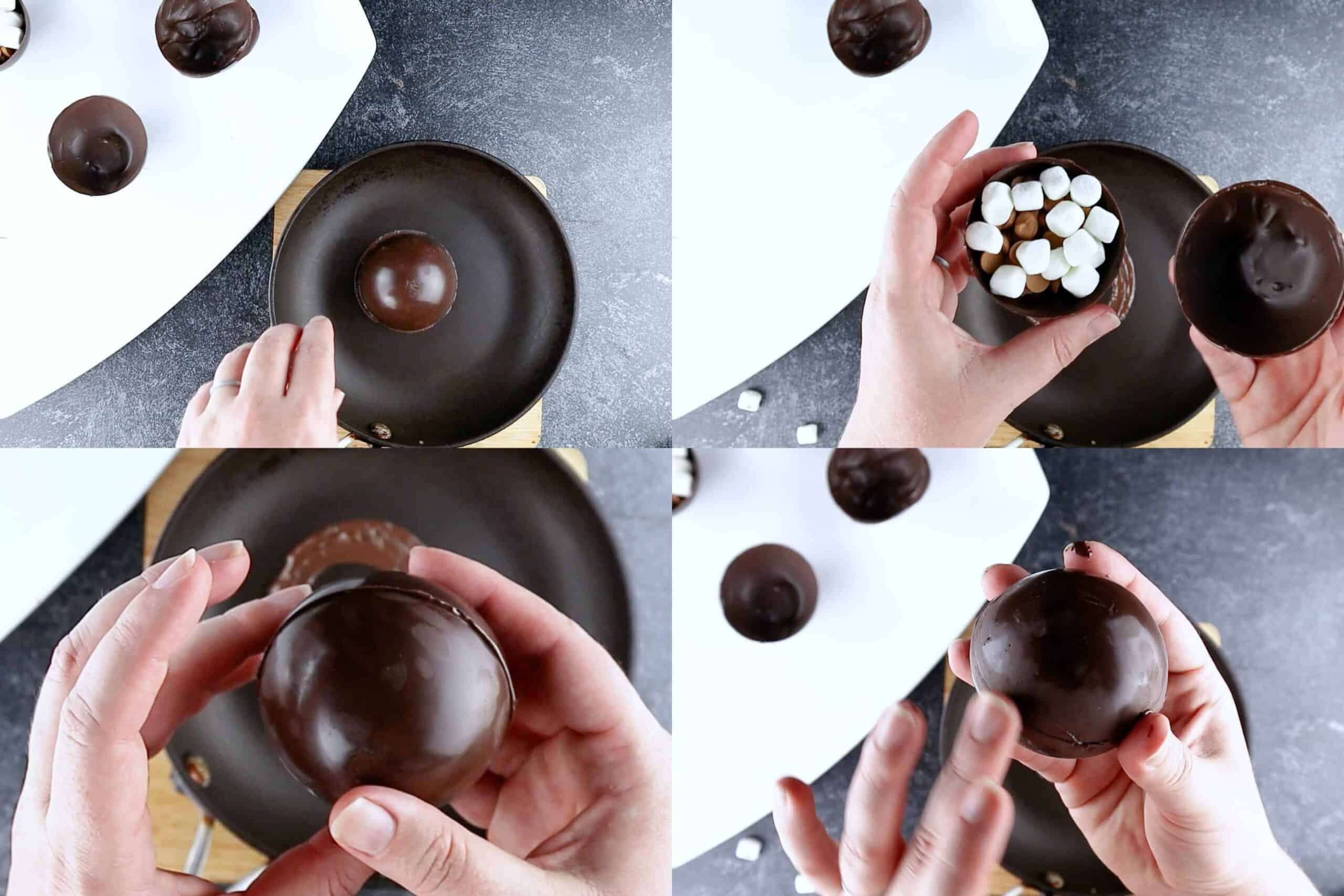 Sticking the two sides of the chocolate bombs together