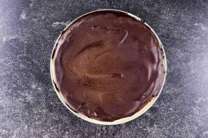 chocolate truffle cake before decorating