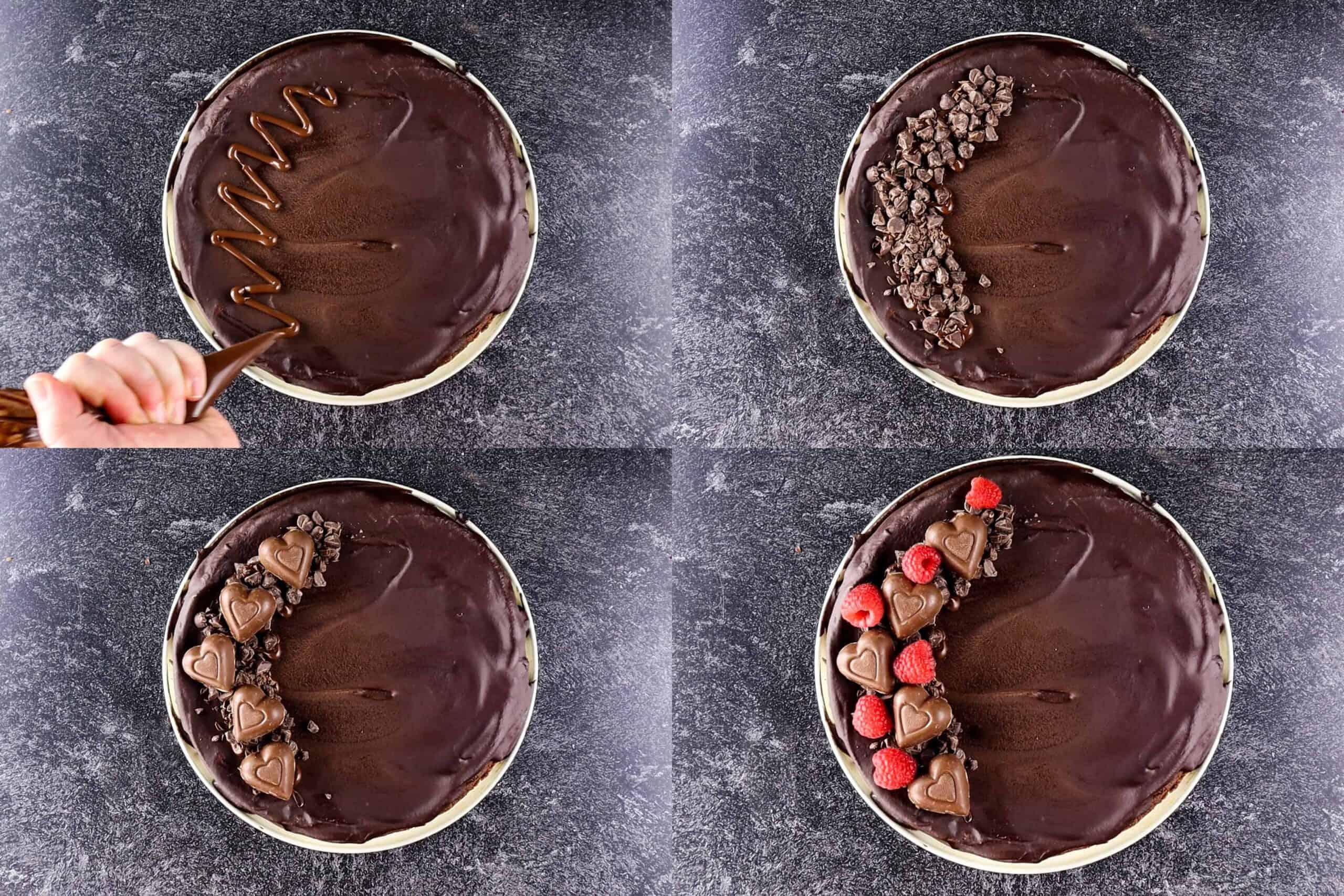 decorating the truffle cake process shots
