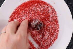 rolling truffle in sprinkles