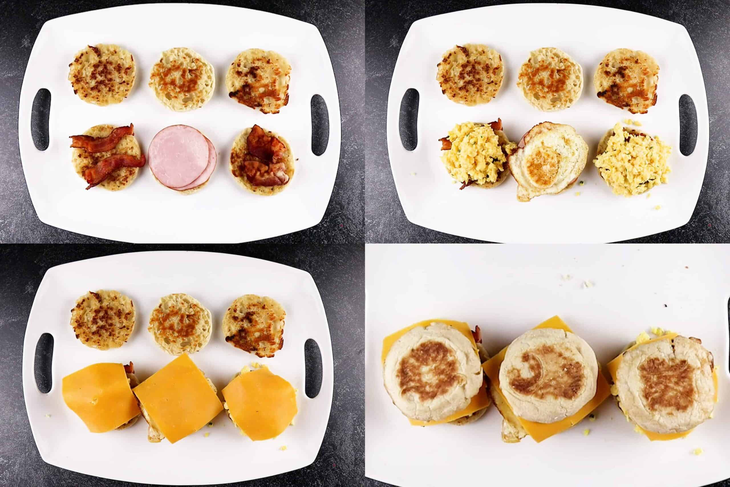 how to assemble breakfast sandwhichs process shots (meat, egg, cheese on bread)