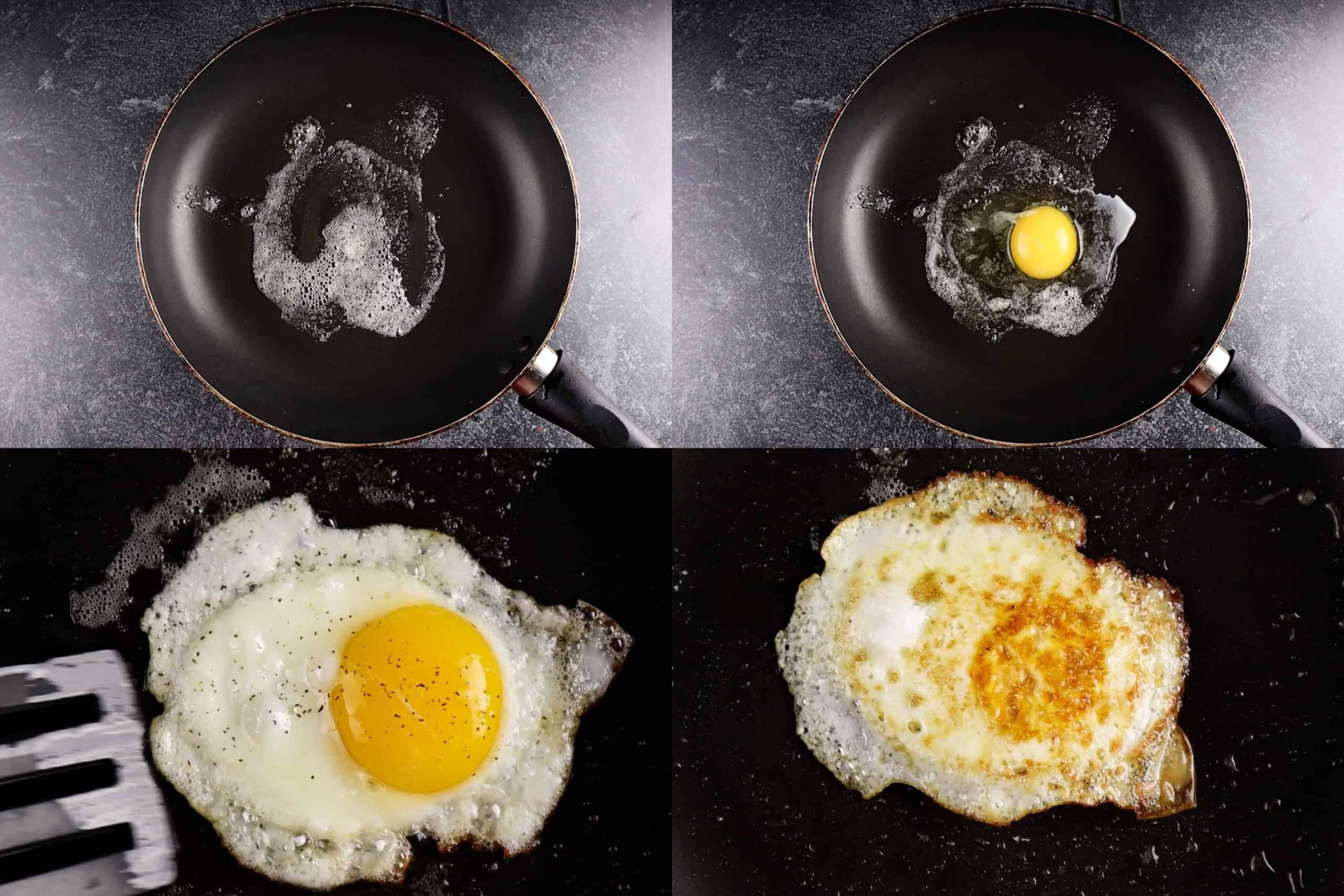hot to fry an egg process shots