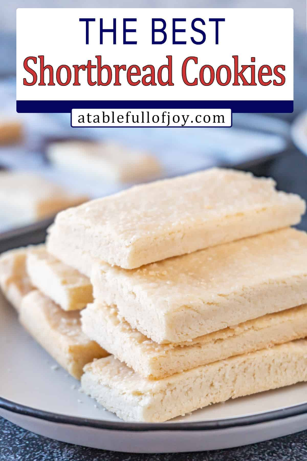 Shortbread cookies stacked on plate pinterest pin