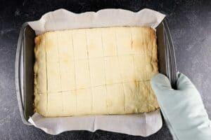 shortbread cookies cut in pan