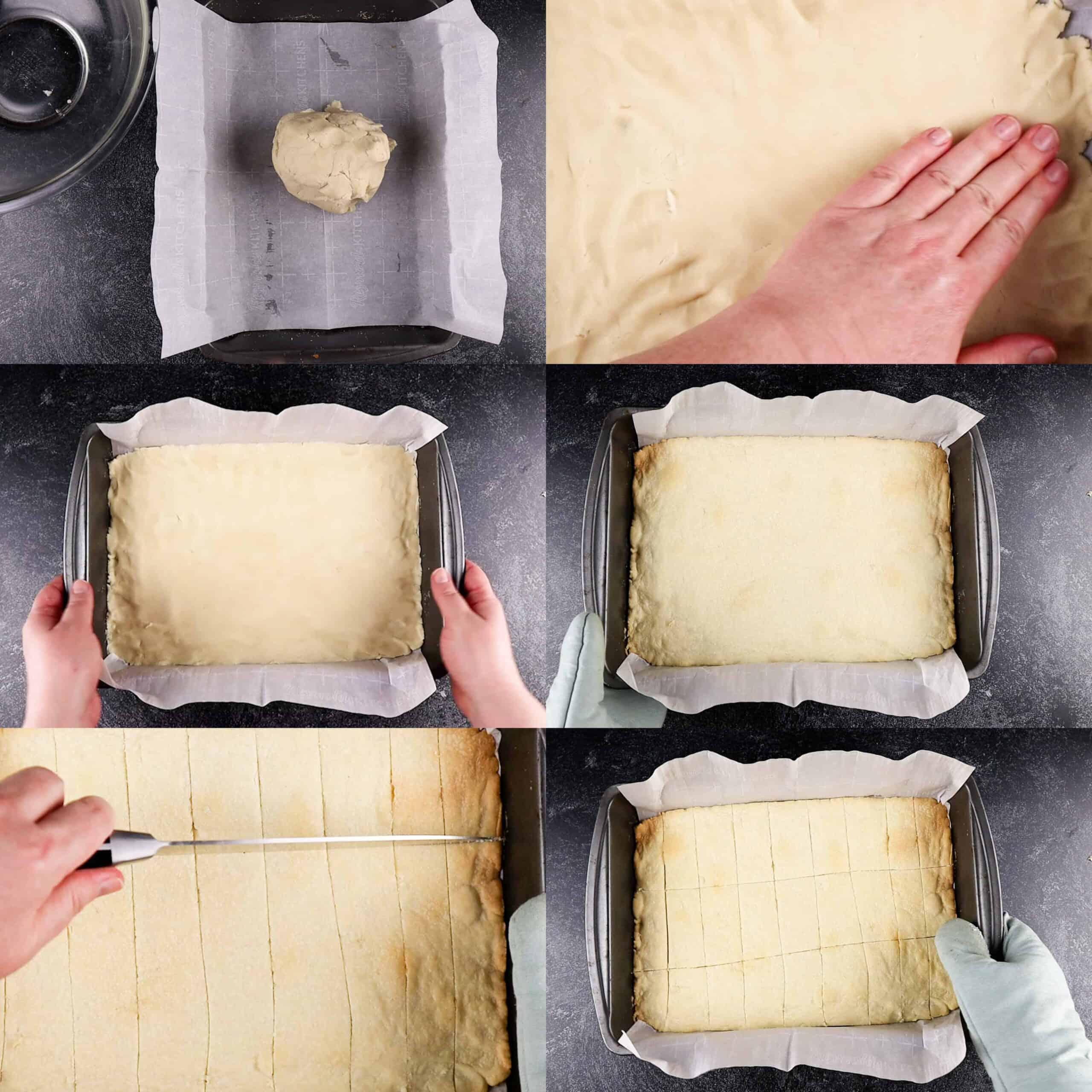 Putting dough in baking dish and baking process shots