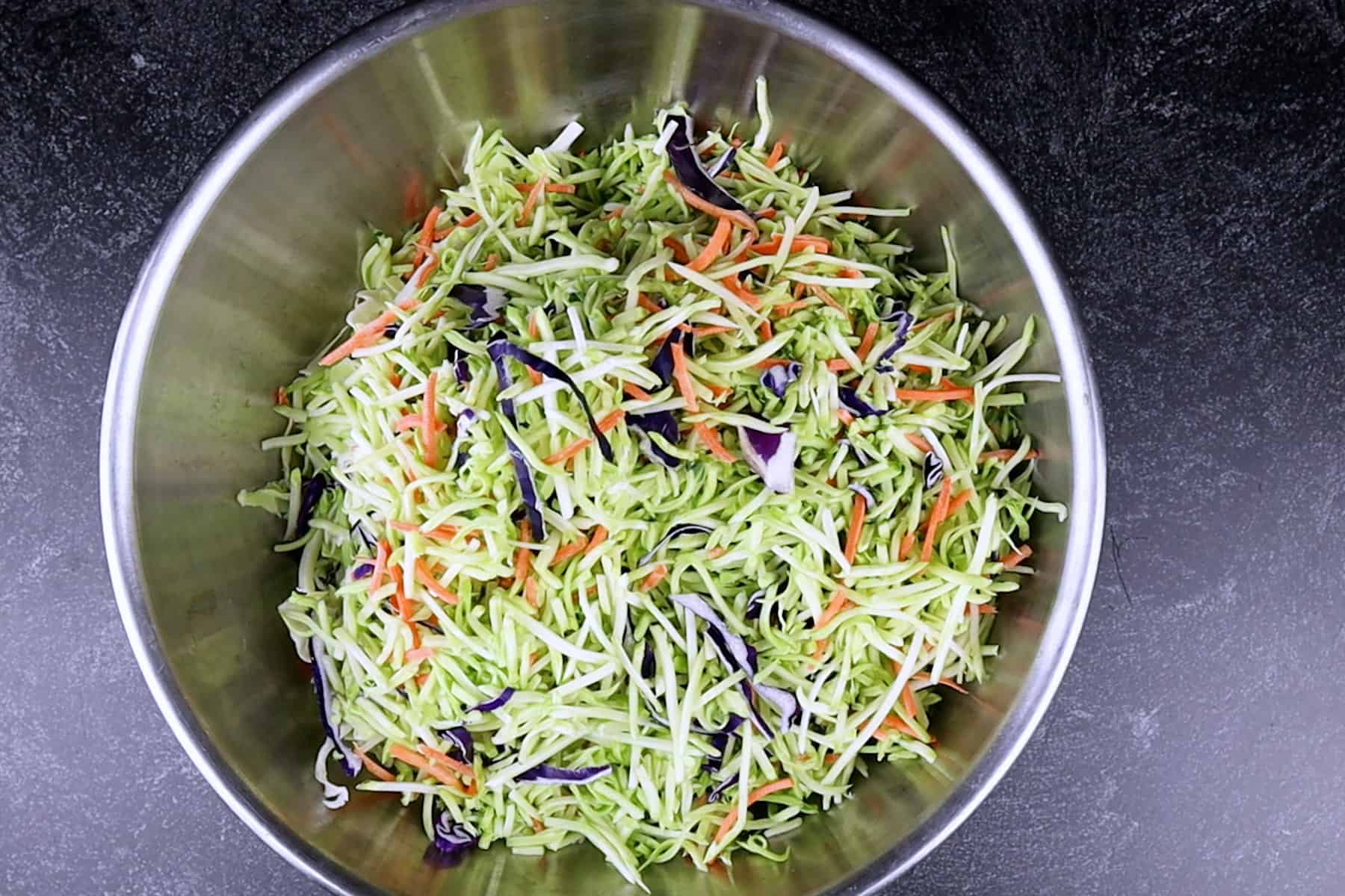 broccoli slaw and tricolor slaw mixed