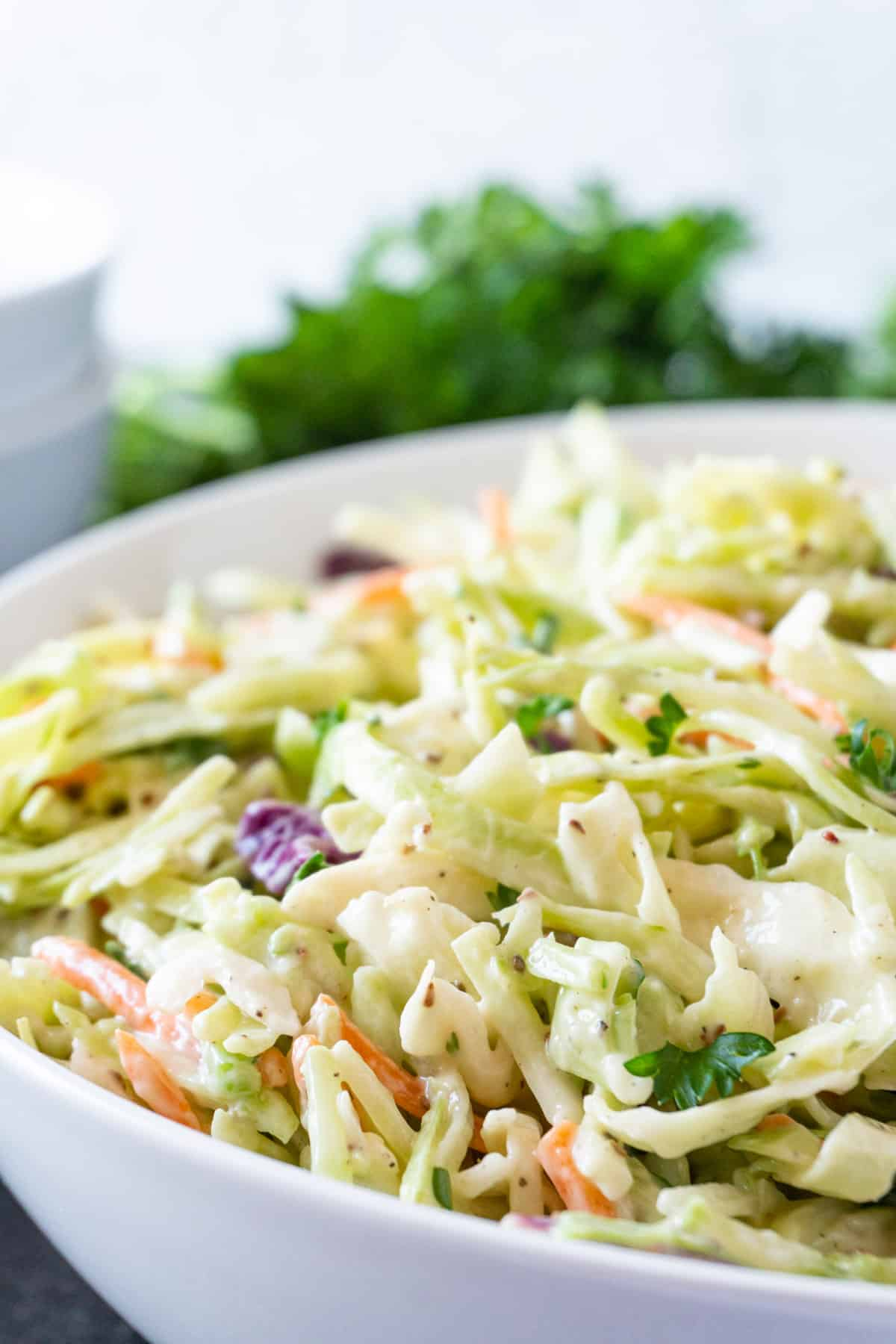 broccoli coleslaw in bowl close up