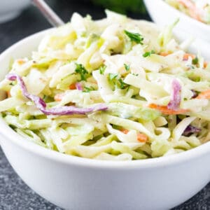 broccoli coleslaw in bowl featured image