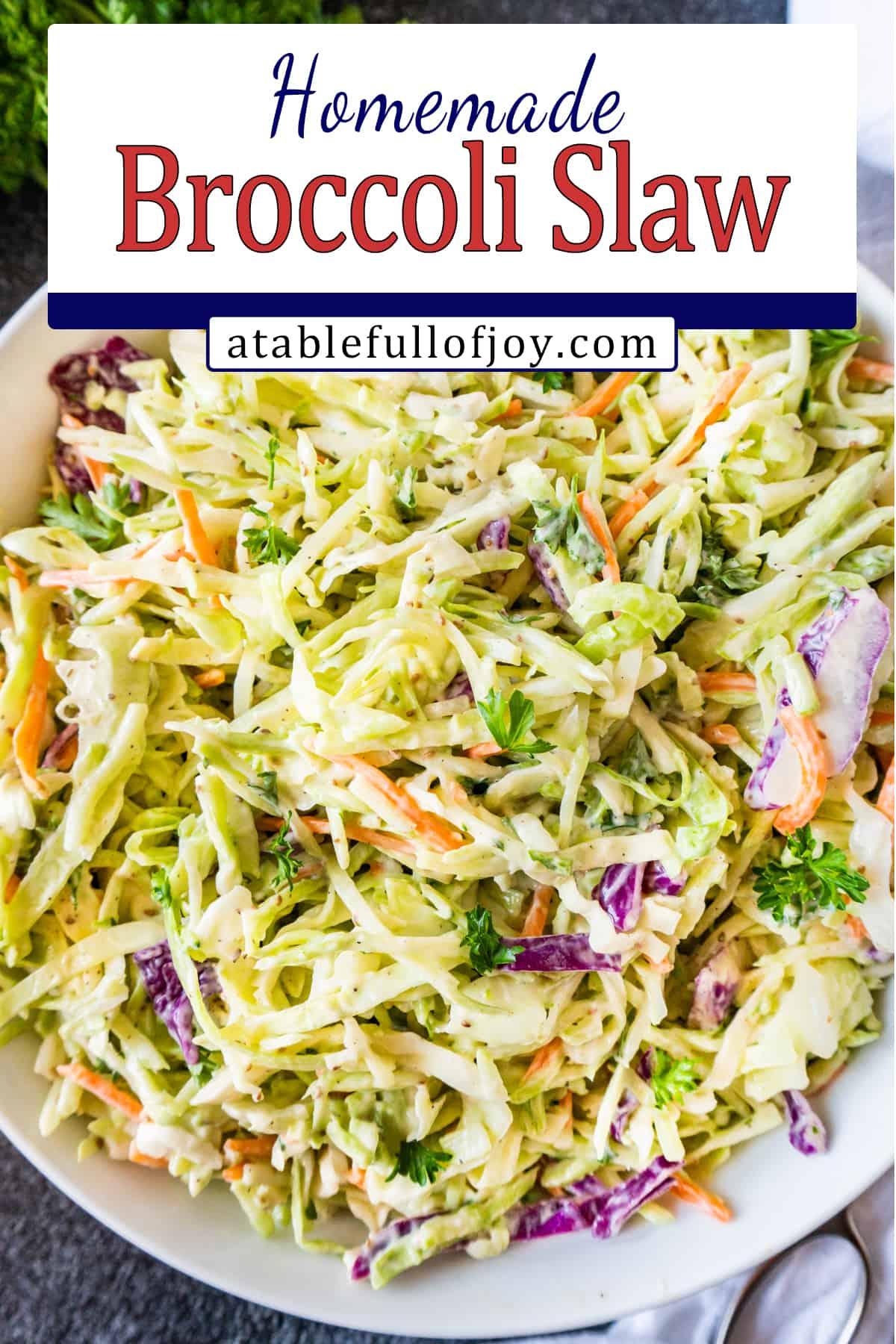 broccoli coleslaw in bowl pinterest pin