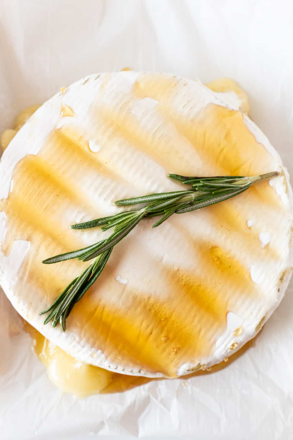 close up of baked brie with honey and rosemary sprig on top
