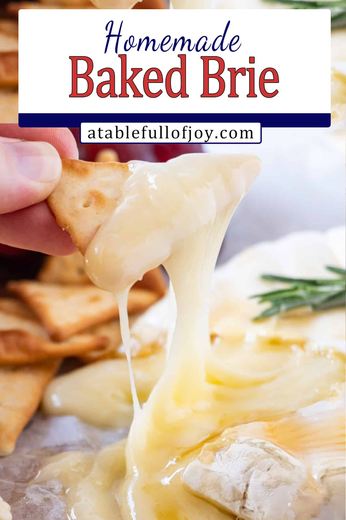 pinterest pin melted brie on crackers