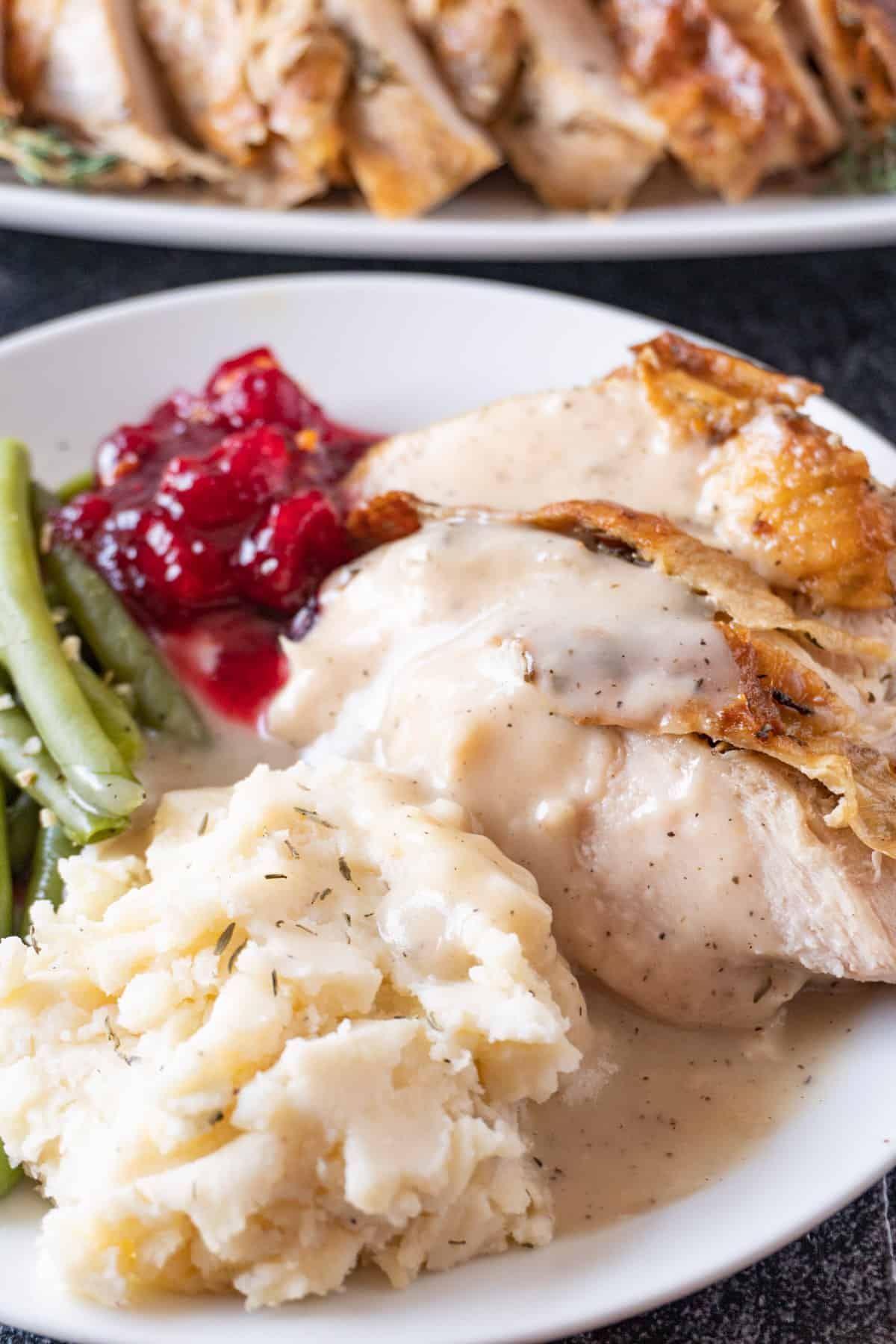 plate with turkey, mashed potatoes, green beans, cranberry sauce and gravy