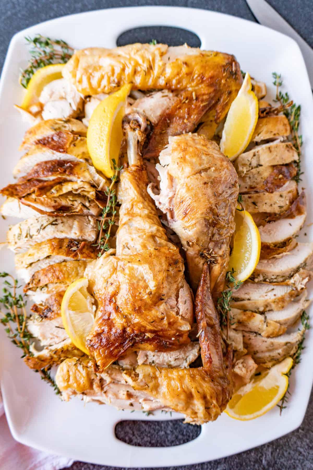 cut turkey on platter