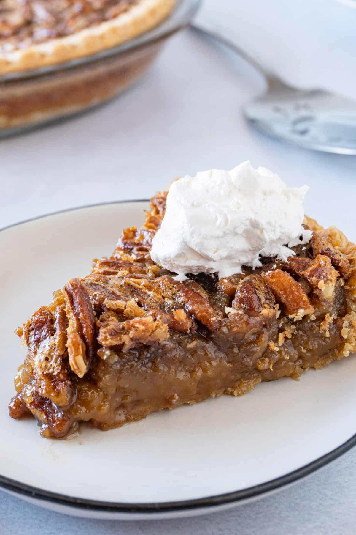 slice of pecan pie on plate with whipped cream