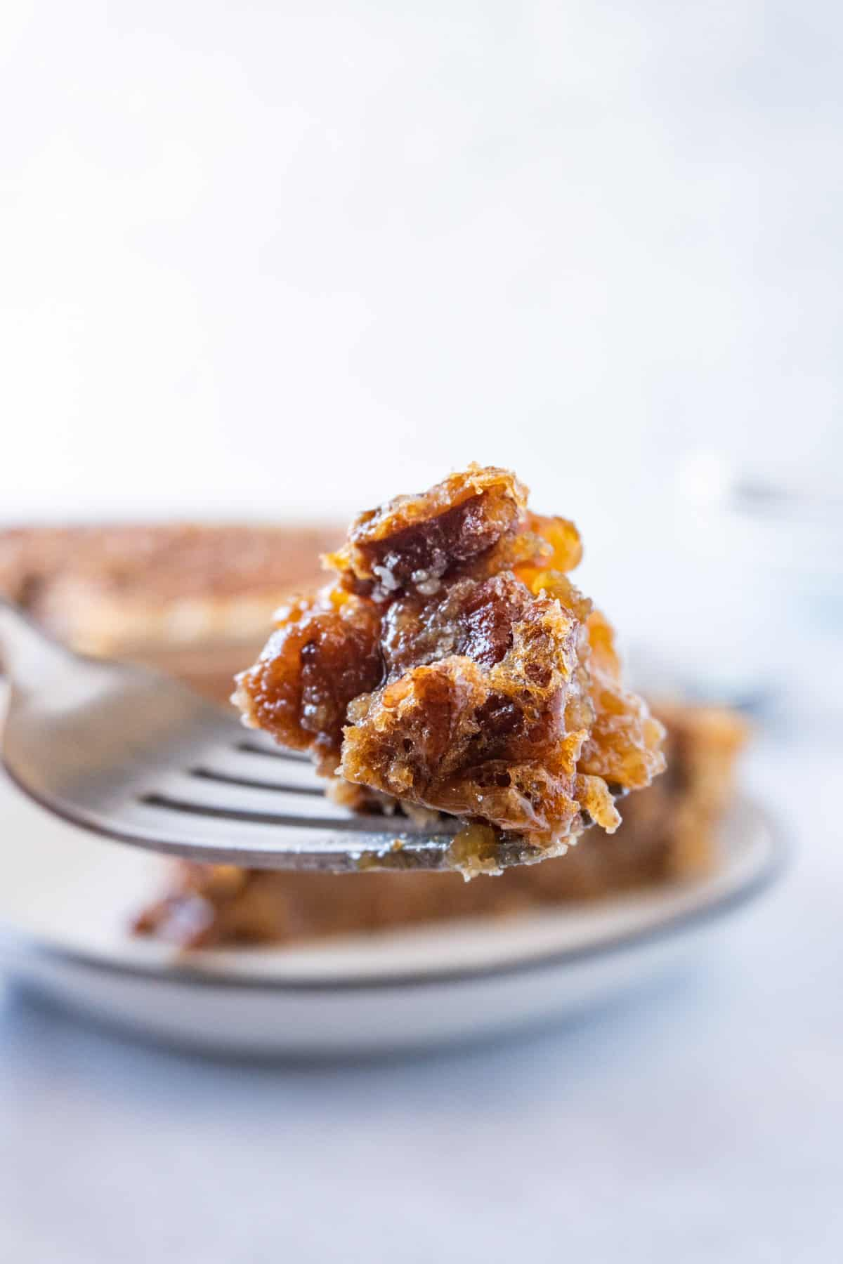 piece of pecan pie on fork