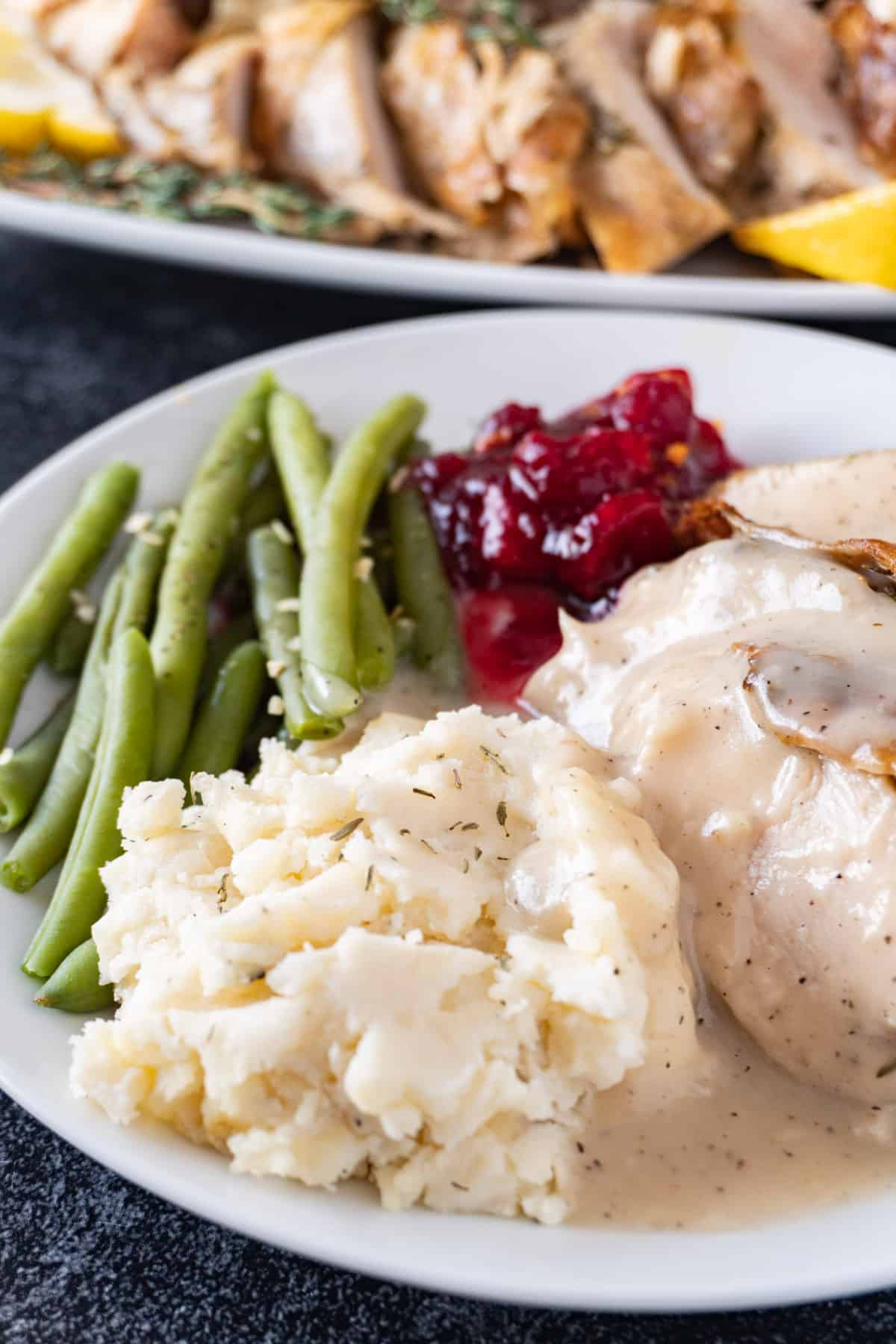 mashed potatoes with gravy on plate with green beans turkey and cranberry sauce