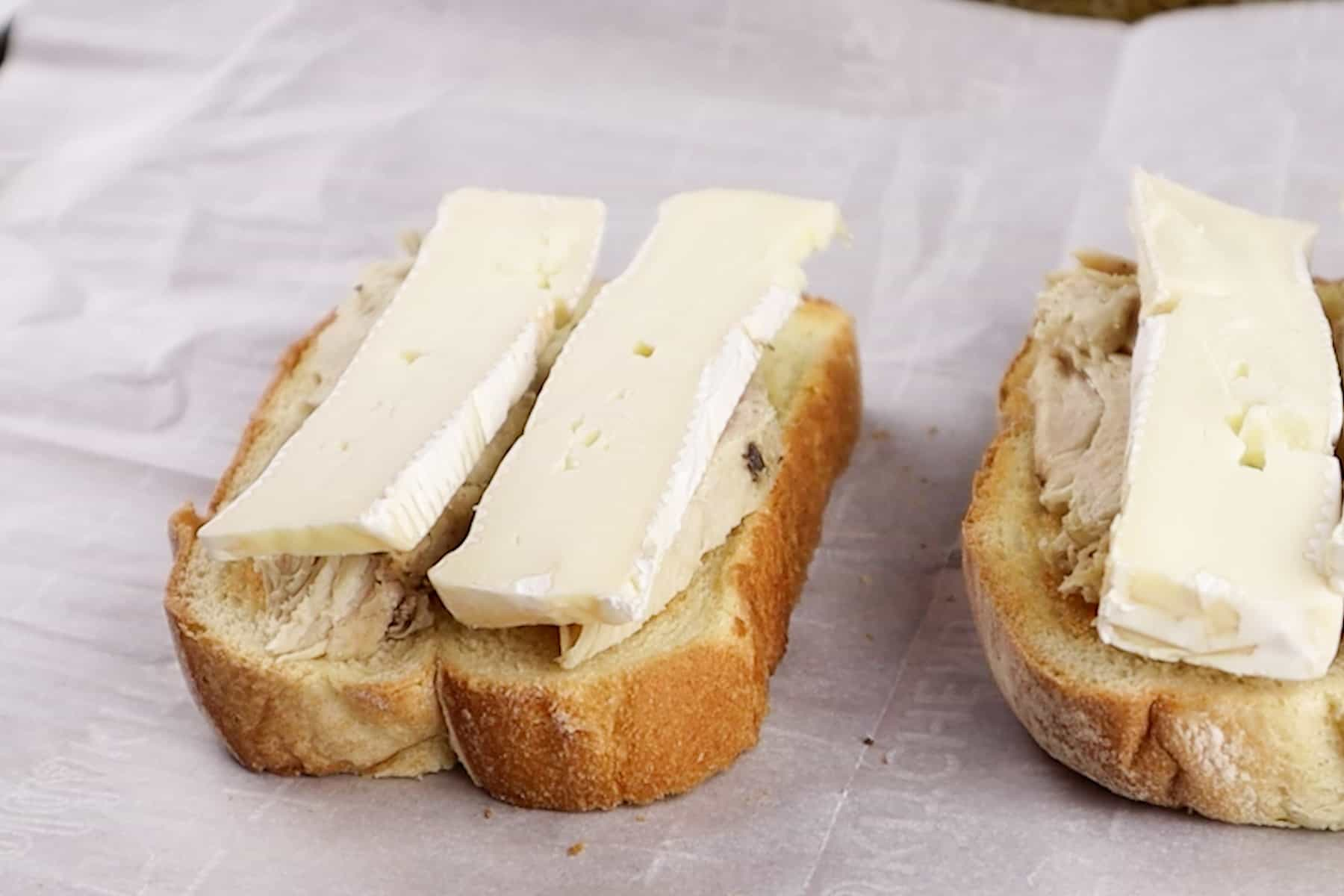 cheese and turkey on bread before broiling