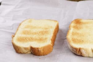 toasted bread on baking sheet