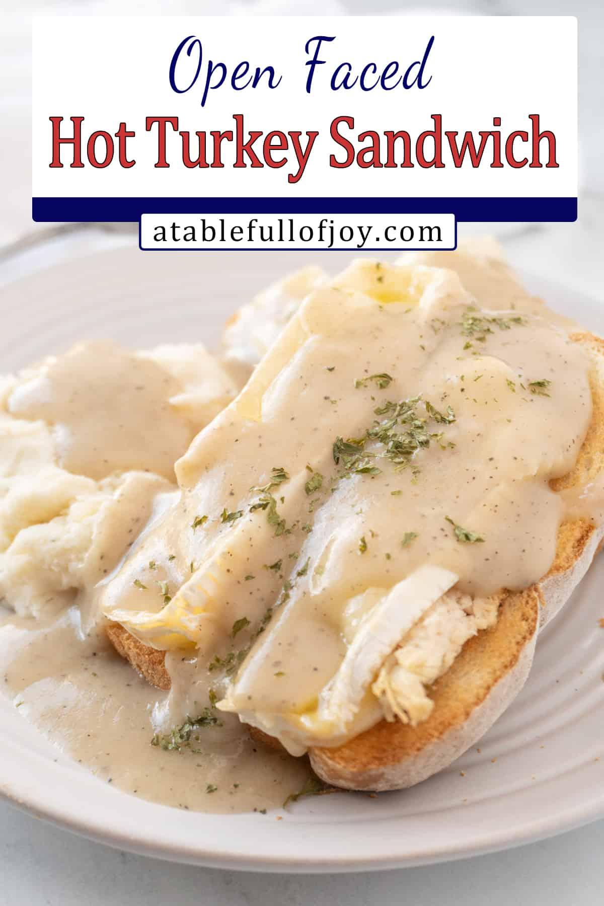 hot turkey sandwich with gravy pinterest pin