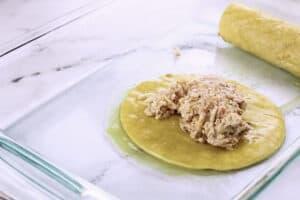 chicken filling on corn tortilla