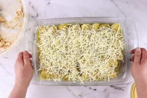 green chile chicken enchiladas before baking in casserole dish