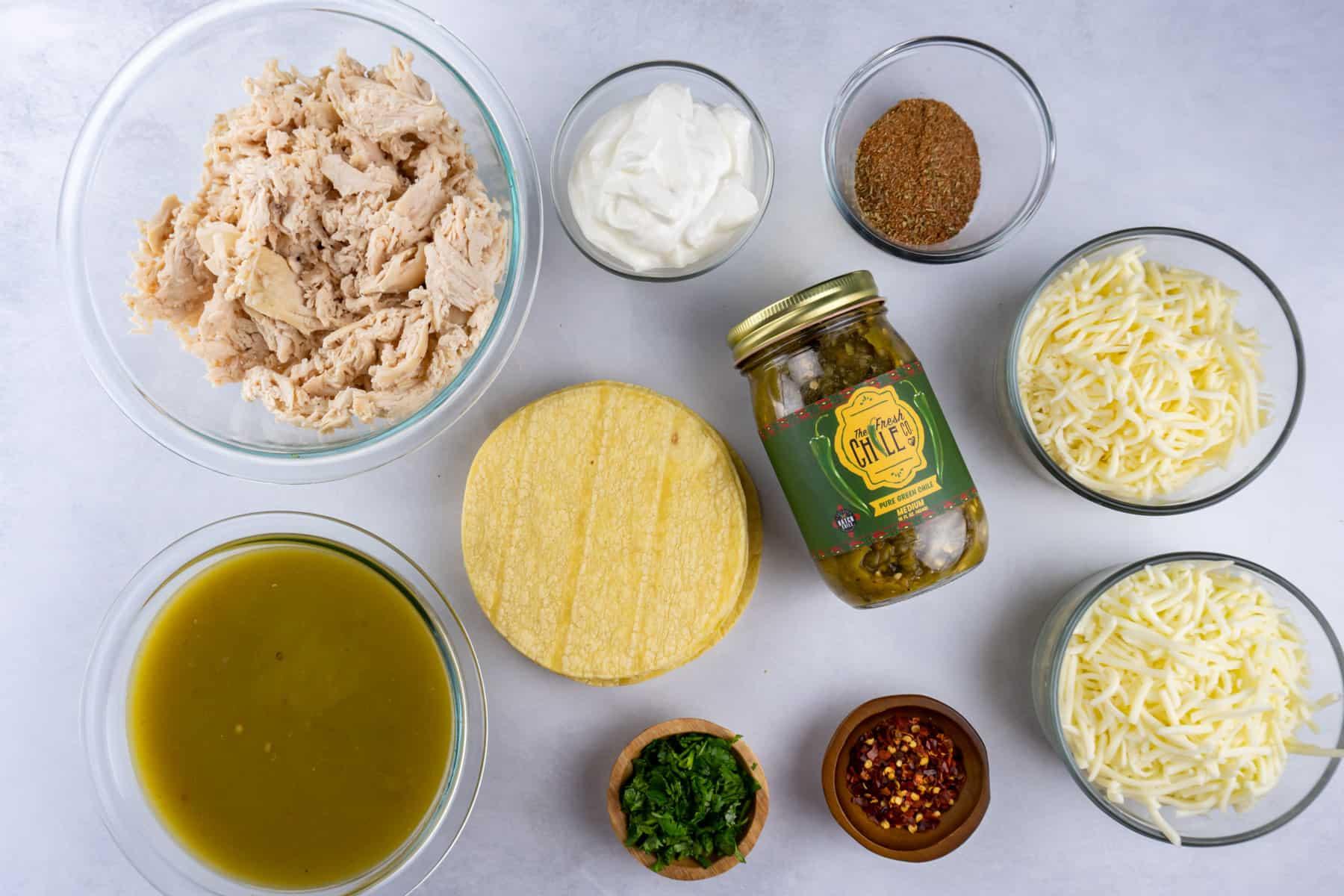 green chile chicken enchilada ingredients