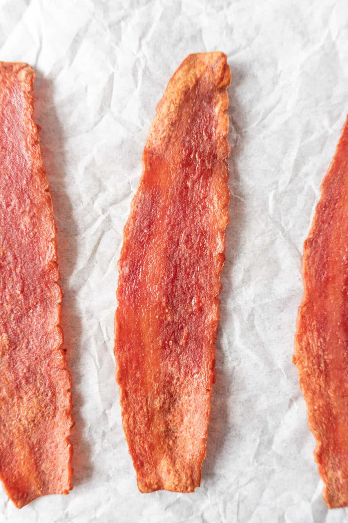 Baked Turkey bacon close up