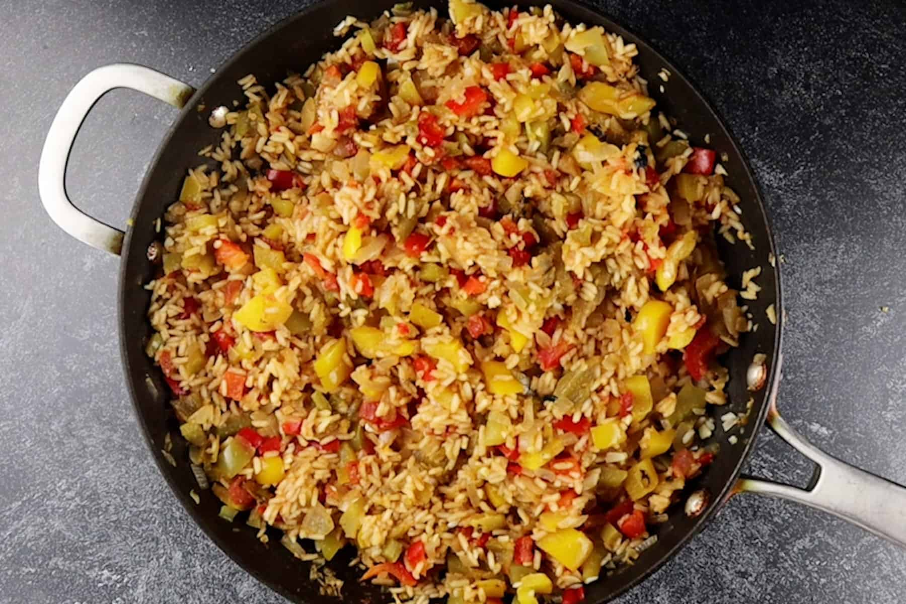 rice cooked in skillet- no liquid left