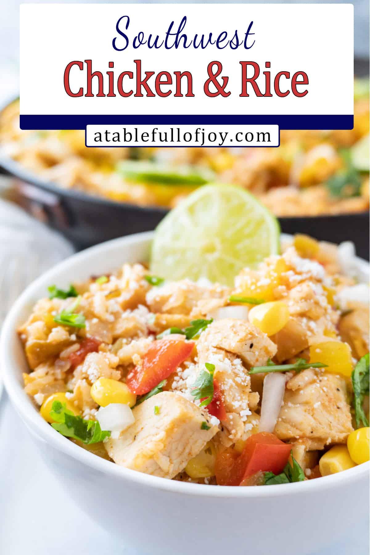 southwest chicken recipe in a bowl Pinterest pin