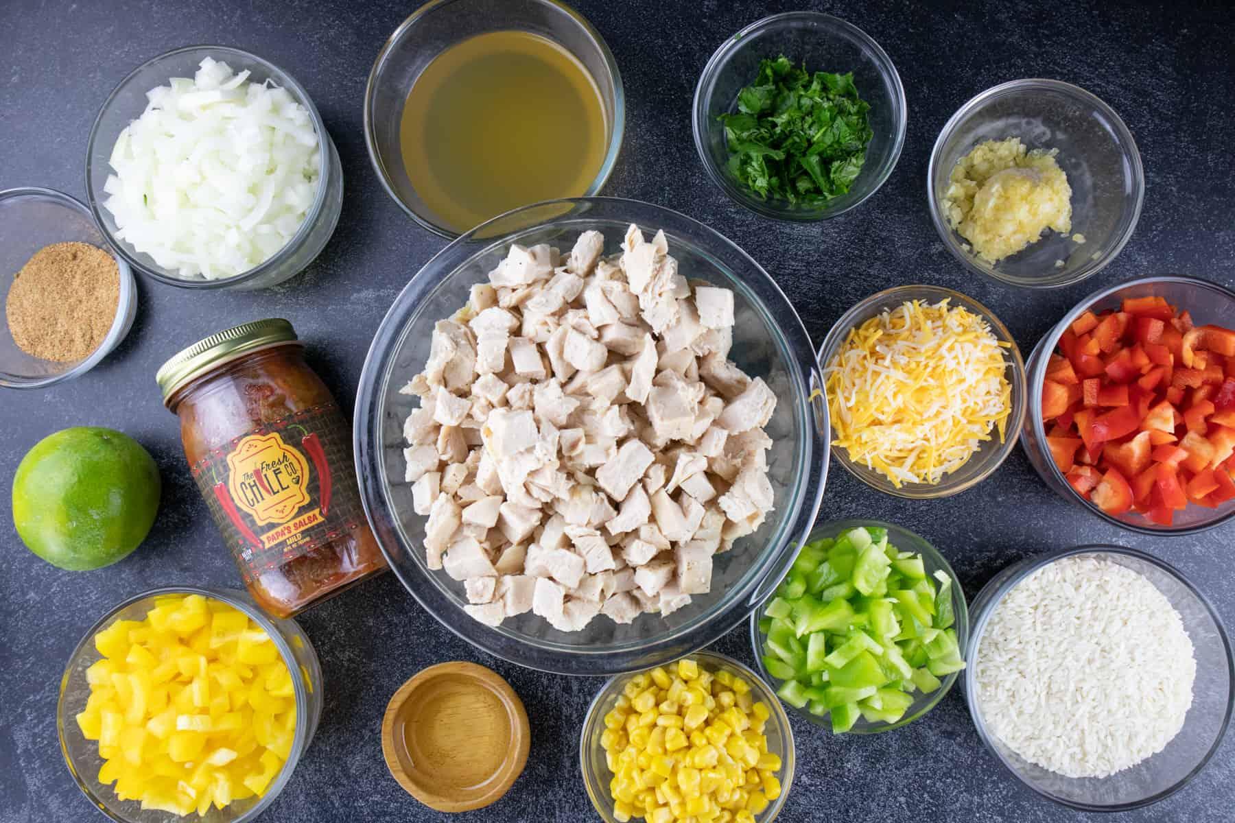 southwest chicken recipe ingredients in own bowls