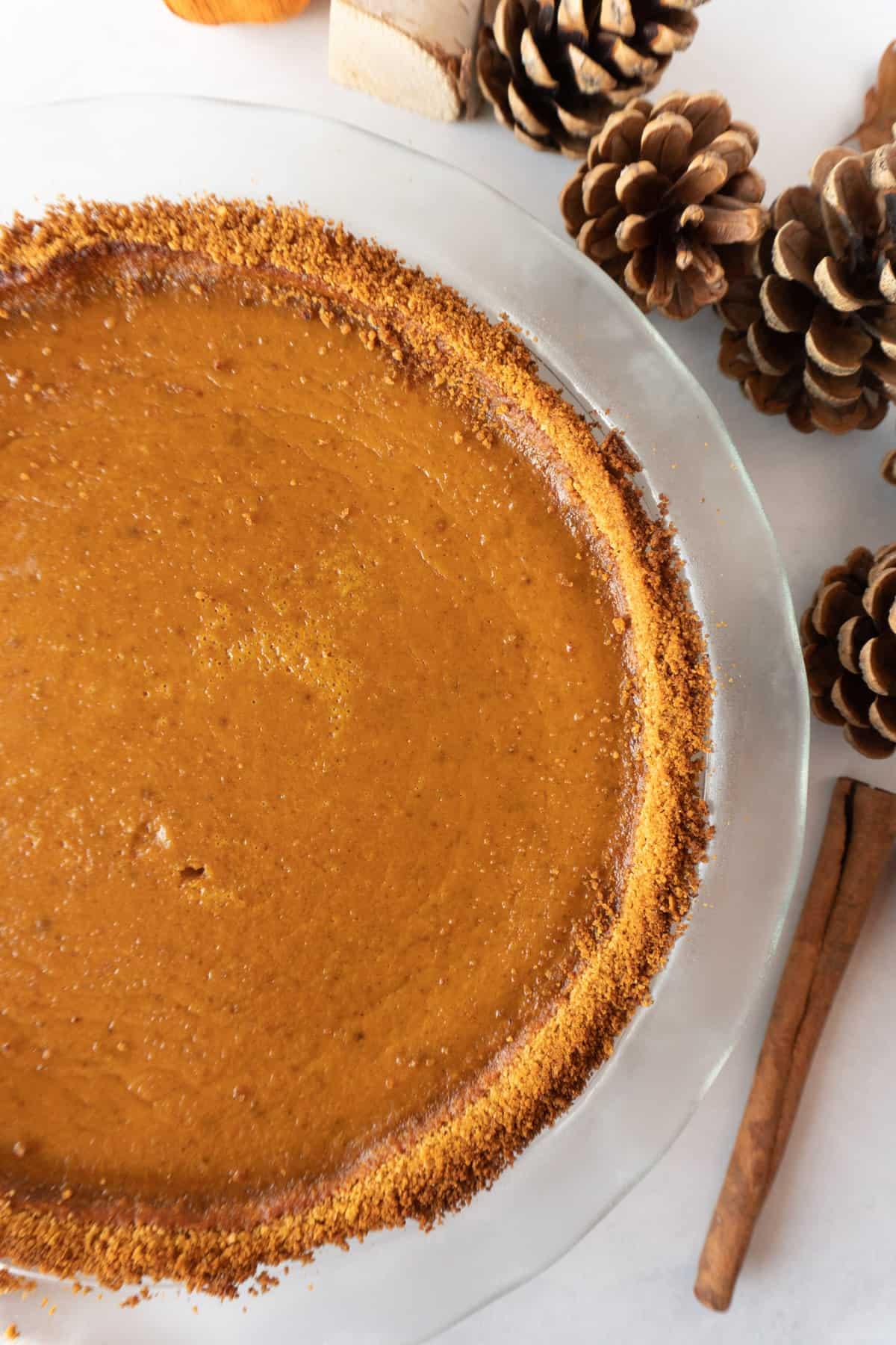 pumpkin pie in pie dish
